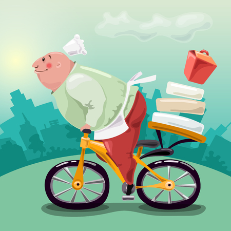 The cook delivers food on a bicycle. Very fast food delivery