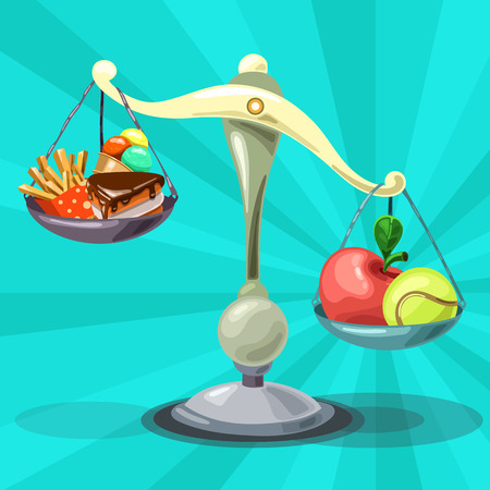The choice between healthy food and fast food. The scales show the right way