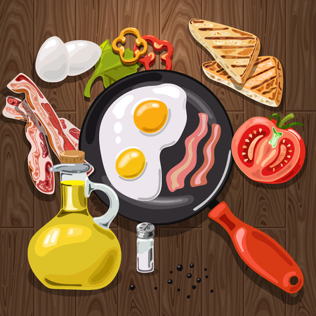 How to cook the best quick breakfast. In the frying pan fried eggs and bacon. Beside lie toast and tomato