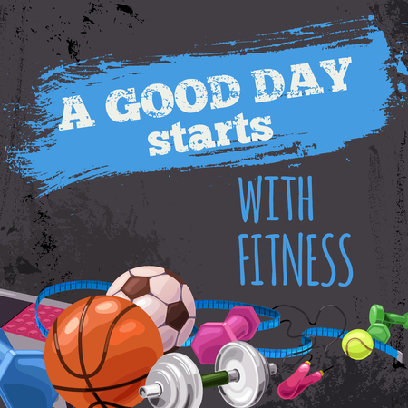 Poster with sports equipment. A good day starts with fitness