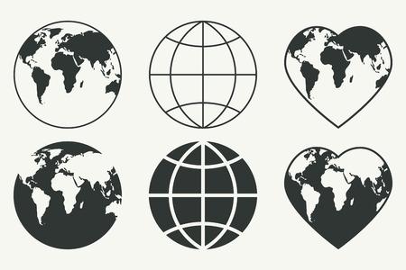 globo: Insieme vettoriale di globi. icone della Terra Vettoriali