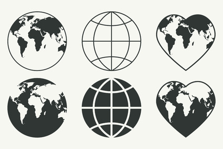 world globe map: Vector set of Globes. Earth icons Illustration