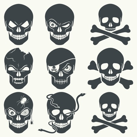 decrepit: Vector set of different skulls. Black silhouette on a white background, isolated, 8. Illustration
