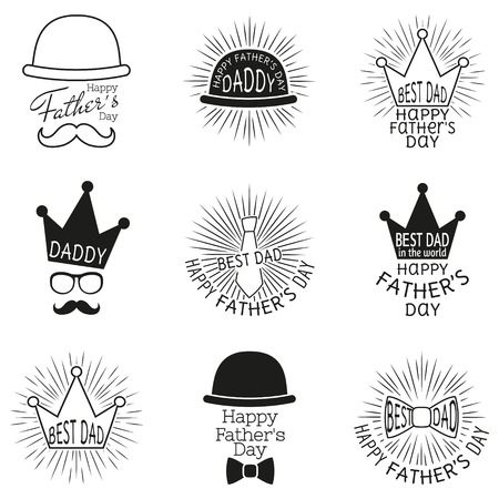 fun day: Fathers day labels. Vector illustration