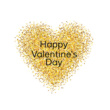 golden heart: Happy Valentines day greeting card. Golden heart on white background. Vector illustration. EPS 8.
