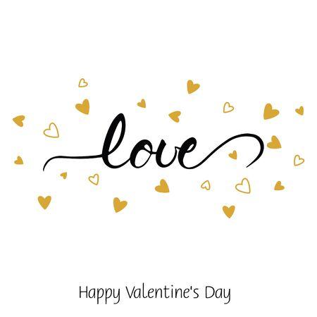 letras negras: Greeting card for Valentines day. Love. Handwritten brush lettering. Vector illustration.