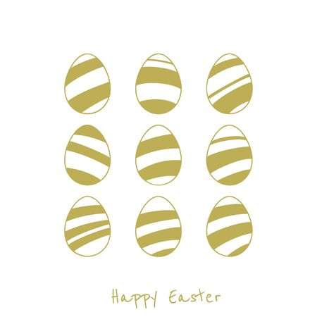 gold silhouette: Vector set of easter eggs. Gold silhouette on white background. Greeting card.