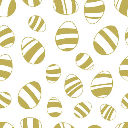 gold silhouette: Seamless pattern of easter eggs. Gold silhouette on white background.