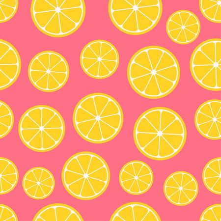 lemon slices: Citrus seamless pattern. Lemon slices on pink background. Fruit collection. Vector background EPS 8. Illustration