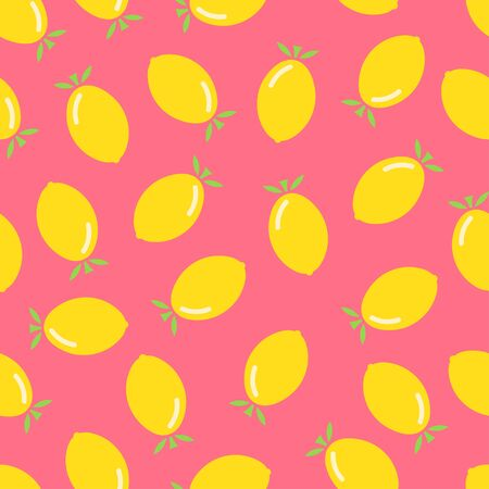 Citrus seamless pattern. Lemons on pink background. Fruit collection. Vector background EPS 8.