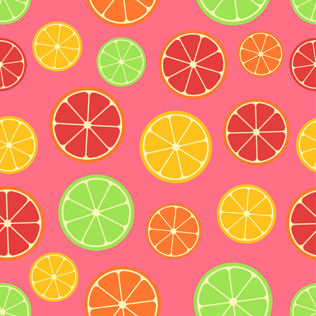 Citrus seamless pattern. Green, red and yellow citrus slices on pink background. Fruit collection. Vector background EPS 8.