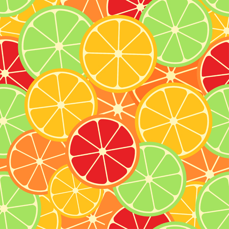 Citrus seamless pattern. Slices of lemon, lime, grapefruit and orange. Fruit collection. Vector background EPS 8. Ilustracja