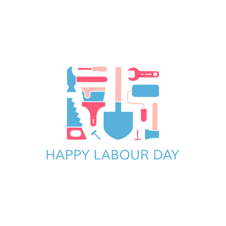 Happy labour day greeting card. Labour day concept. Working tools on white background. Vector illustration. Ilustracja