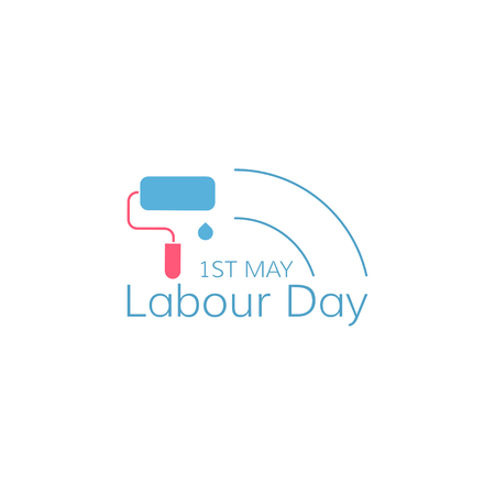 Labour day concept. Paint roller on white background. Vector illustration. Ilustracja
