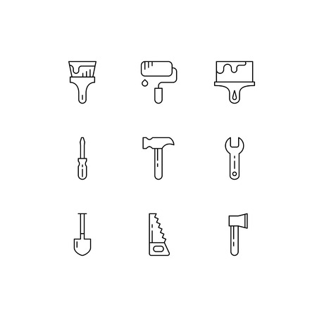 Tools icons. Vector set of simple linear icons. Black signs on white background.