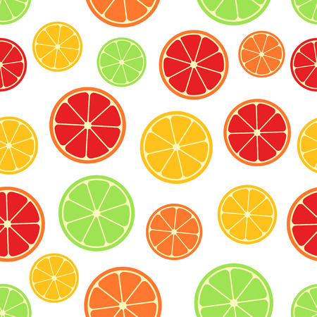 Citrus seamless pattern. Green, red and yellow citrus slices on whit background. Fruit collection. Vector background EPS 8. Ilustracja