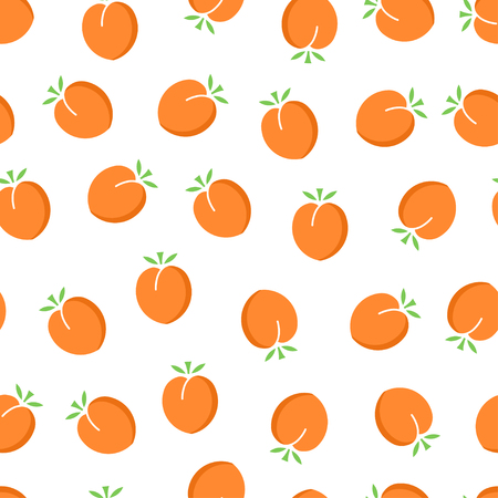Apricot seamless pattern. Ripe apricot on white background. Fruit collection. Vector background EPS 8. Ilustracja