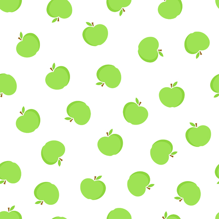 Apple seamless pattern. Green apple on white background. Fruit collection. Vector background EPS 8. Ilustracja