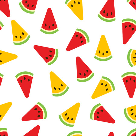 Watermelon seamless pattern. Red and yellow watermelon slices on white background. Fruit collection. Vector background EPS 8.