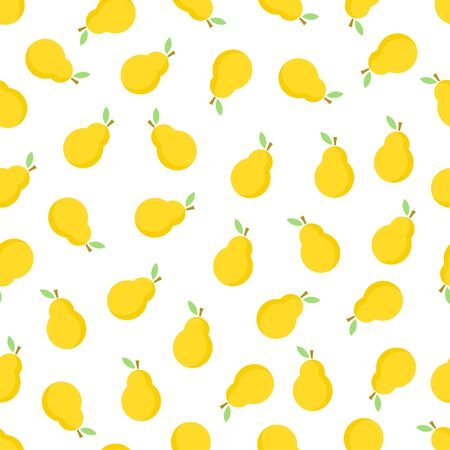 Pear seamless pattern. Yellow pears on white background. Fruit collection. Vector background EPS 8.