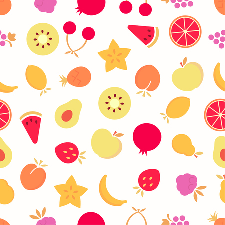 Fruits seamless pattern. Colorful fruits on white background. Vector background EPS 8. Ilustracja