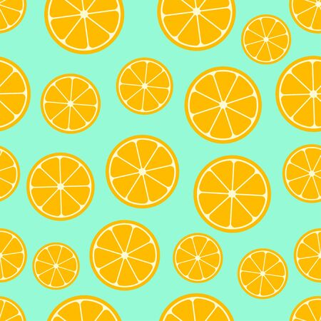 Citrus seamless pattern. Lemon slices on blue background. Fruit collection. Vector background EPS 8.