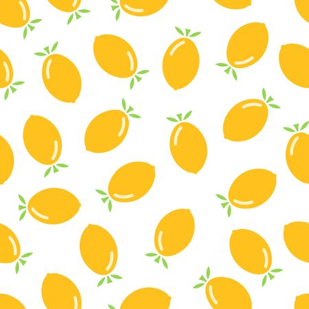 Citrus seamless pattern. Lemons on white background. Fruit collection. Vector background EPS 8. Ilustracja