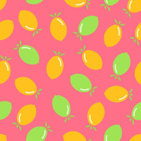 Citrus seamless pattern. Lemon and lime on pink background. Fruit collection. Vector background EPS 8.