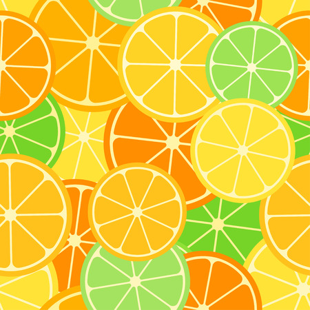 Citrus seamless pattern. Slices of lemon, lime and orange. Fruit collection. Vector background EPS 8.