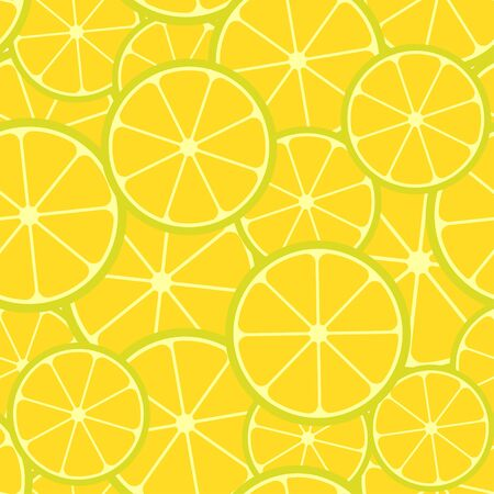 Citrus seamless pattern. Seamless pattern of lemon slices. Fruit collection. Vector background EPS 8.