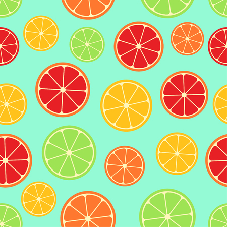 Citrus seamless pattern. Green, red and yellow citrus slices on blue background. Fruit collection. Vector background EPS 8. Ilustracja