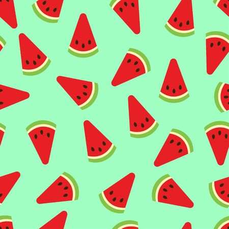 Watermelon seamless pattern. Watermelon slices on green background. Fruit collection. Vector background EPS 8.