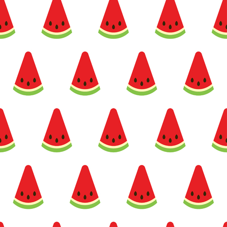 Watermelon seamless pattern. Watermelon slices on white background. Fruit collection. Vector background EPS 8. Ilustracja