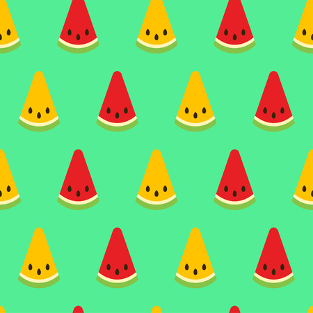 Watermelon seamless pattern. Red and yellow watermelon slices on green background. Fruit collection. Vector background EPS 8.