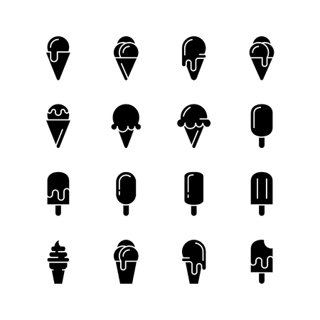 Ice cream icons. Vector set of simple symbols. Black signs on white background.