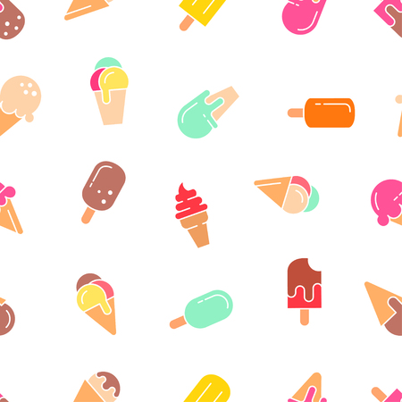 minimalistic: Ice cream seamless pattern. Vector background.