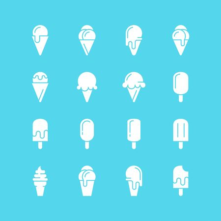 Ice cream icons. Vector set of simple symbols. White silhouettes on  blue background.