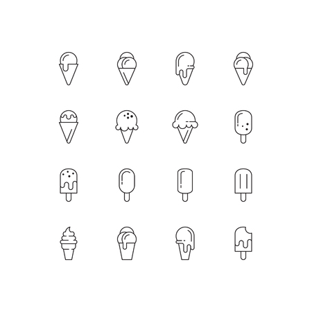 Ice cream icons. Vector set of simple linear icons. Black signs on white background.