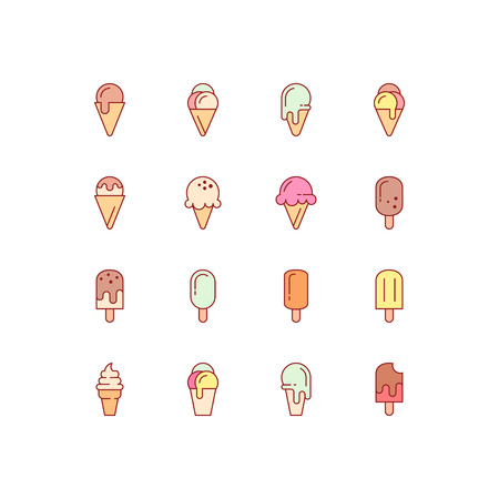 Ice cream icons. Vector set of simple linear icons. Ice cream icons Ilustracja
