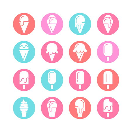 Ice cream icons. Vector set of simple icons.