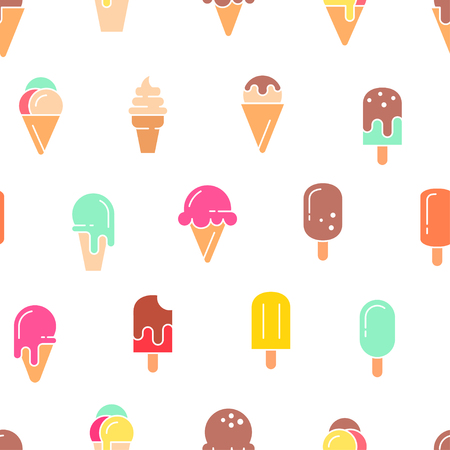 Ice cream seamless pattern. Vector background.