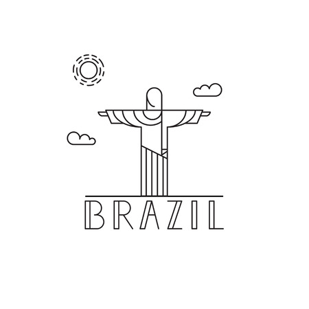 Vector illustration with Christ the Redeemer. Brazil symbol.