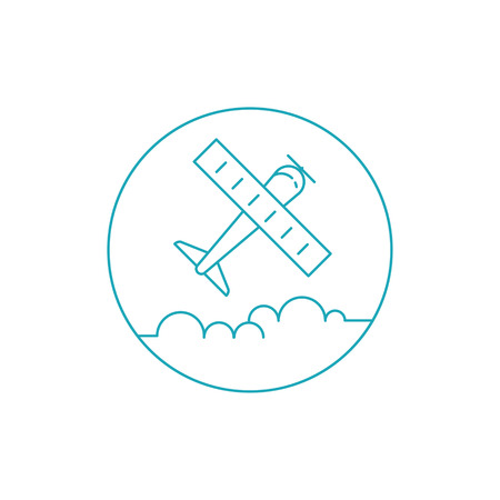 Airplane icon. Simple vector illustration with airplane and clouds. Ilustracja