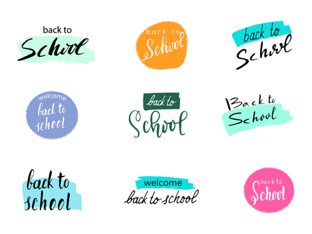 Back to school design. Vector set of hand drawn lettering in different variants.