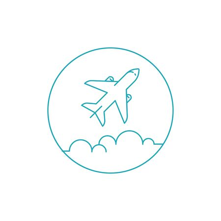 Airplane icon. Simple vector illustration with airplane and clouds. EPS 8.