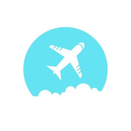 simple sky: Airplane icon. Airplane on blue sky. Simple vector illustration. Illustration