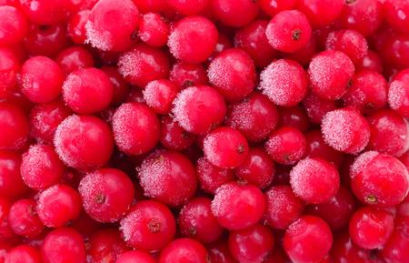 Frozen red currant berries, top view, macro.