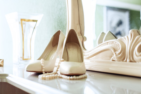 Womens shoes on a heel. The concept of wedding and celebration.