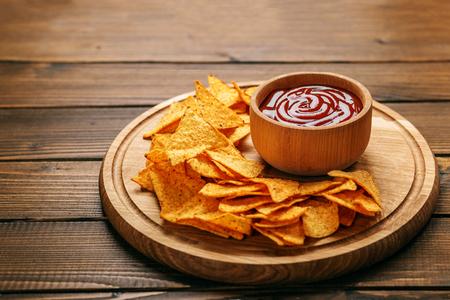 Concept Bad sharp nachos chips concept bad food cafe pub