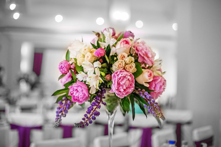 Beautiful flowers. Wedding decor. The concept of a party and wedding decor. Stock Photo